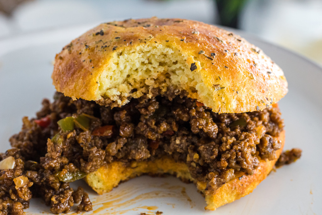keto bun with sloppy joe filling