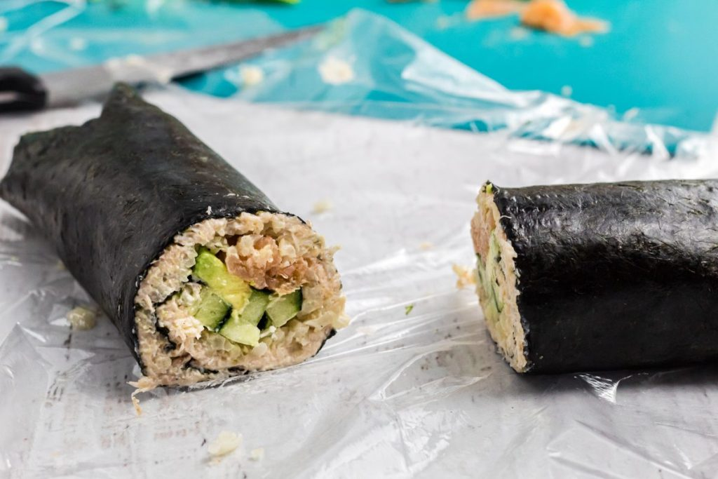 rolled sushi before cutting