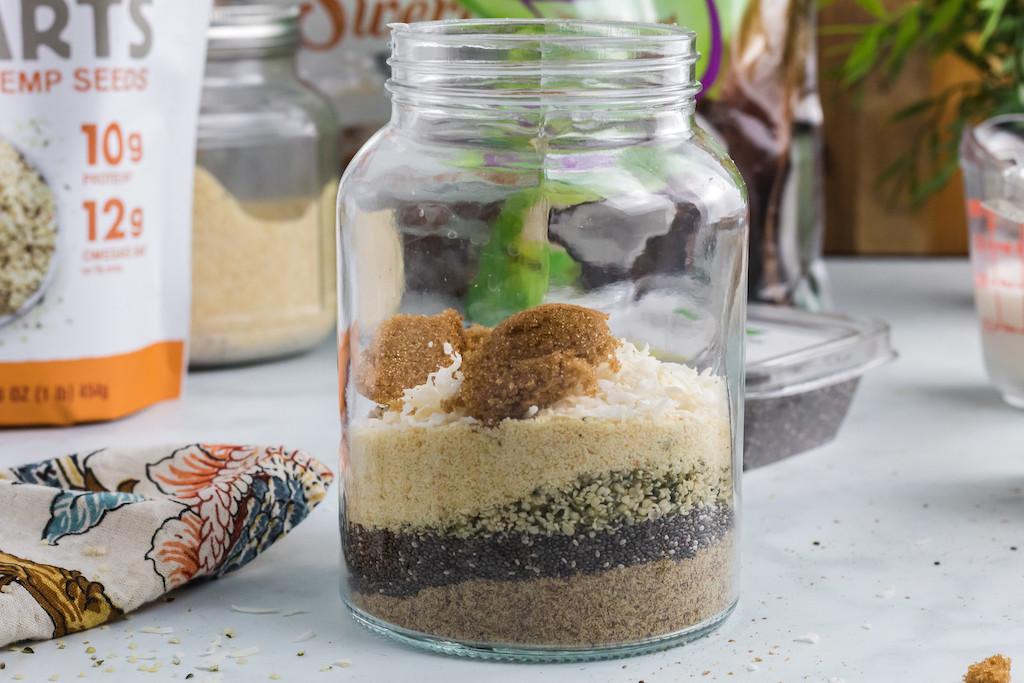keto oatmeal mix in jar