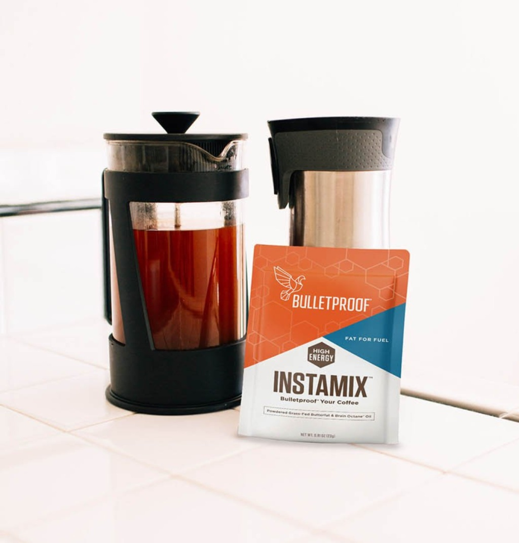 bulletproof coffee instamix keto creamer packet with french press coffee maker and thermos