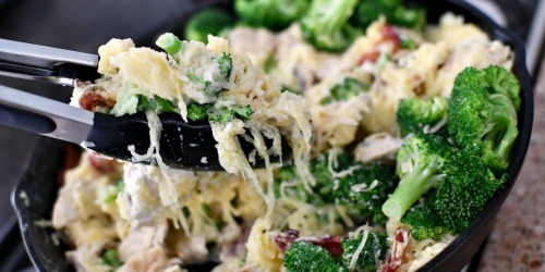 This Keto Spaghetti Squash Chicken Alfredo Skillet is the BEST!