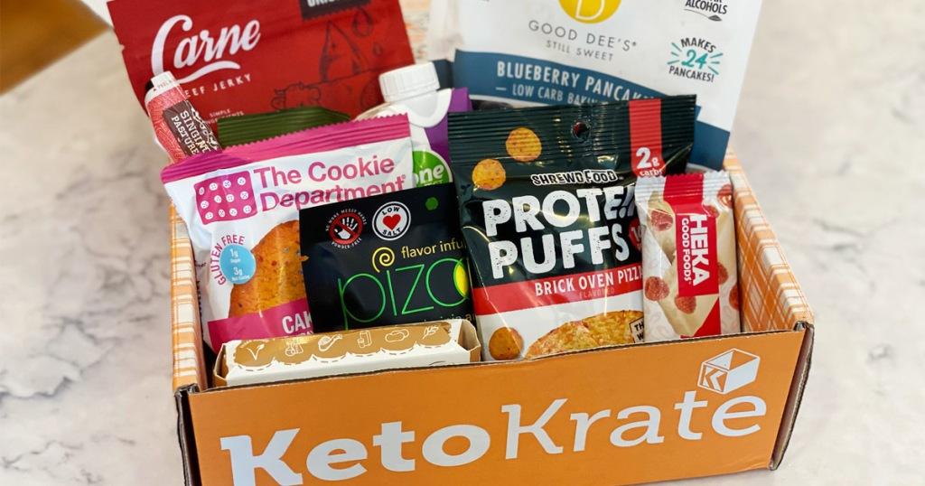 keto krate snack box sitting on table