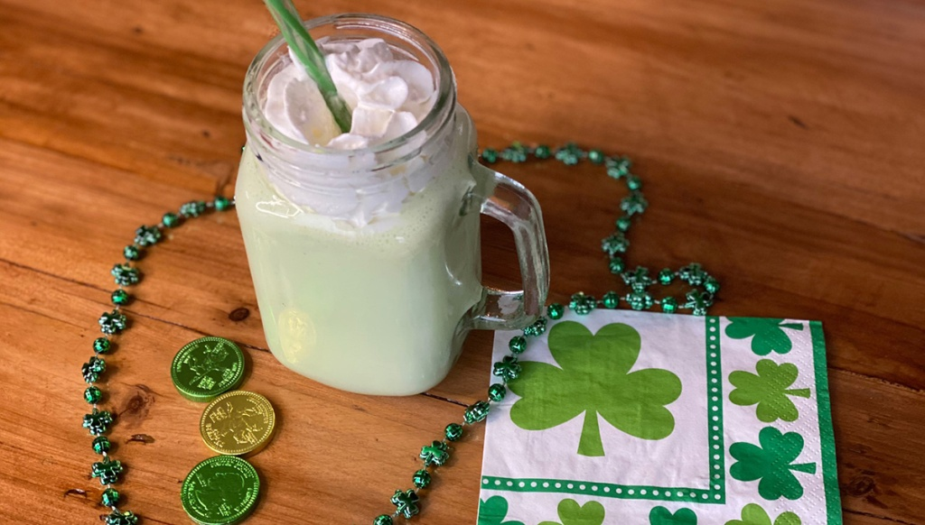 keto shamrock shake on table