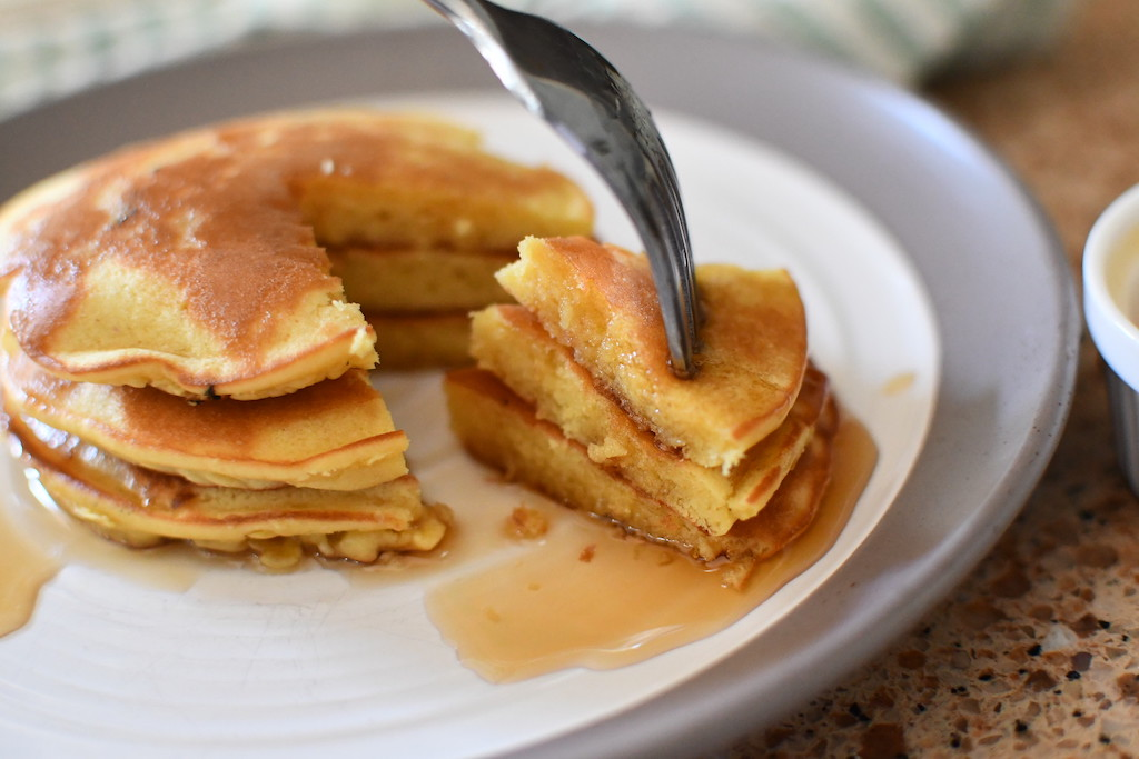 fork with keto pancakes