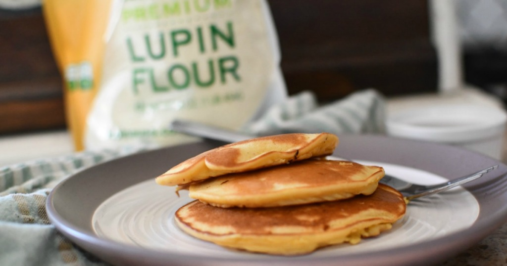 pancakes on plate with Lupin flour in the background