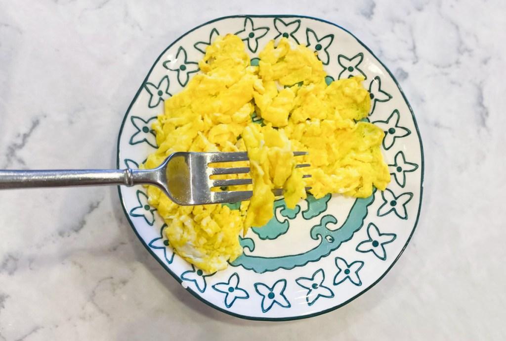 scrambled eggs on a plate