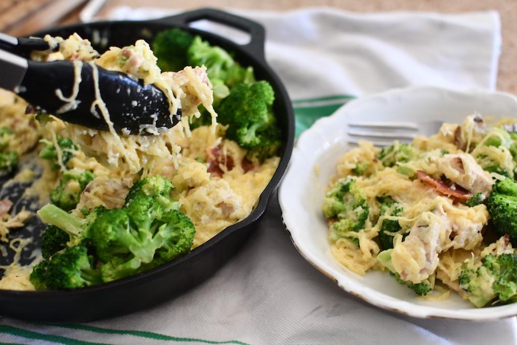 Keto Spaghetti Squash Chicken Alfredo Skillet with Bacon and Broccoli
