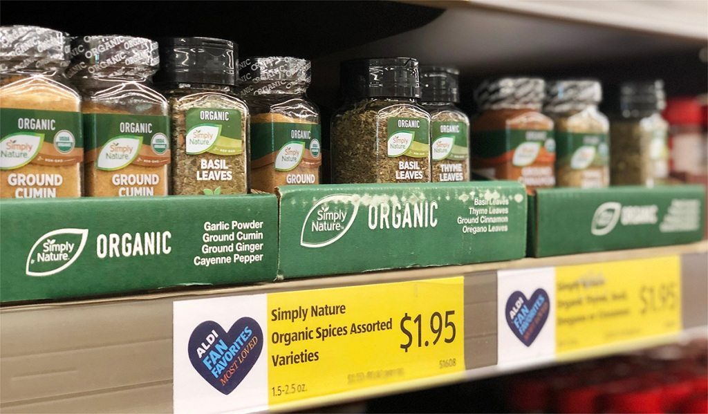 organic spices on shelf at aldi