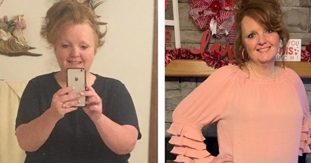 woman before and after keto diet