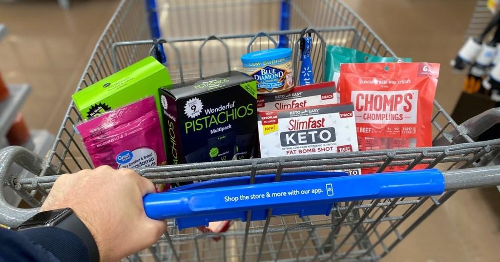Walmart shopping cart with keto snacks
