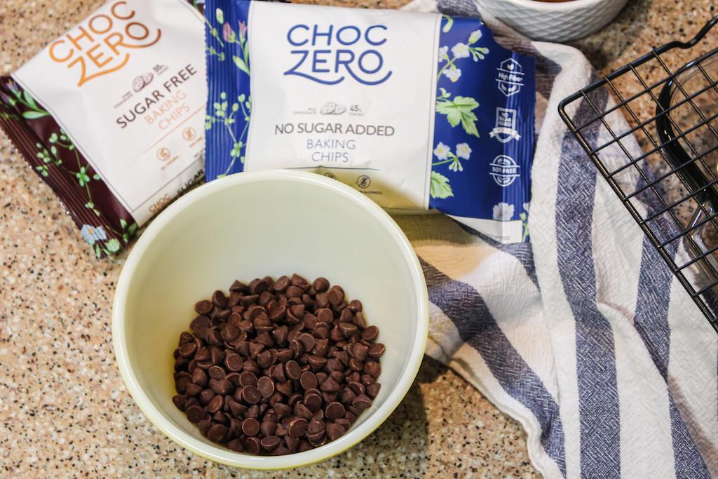 ChocZero No Sugar Added chocolate chip bags with bowl