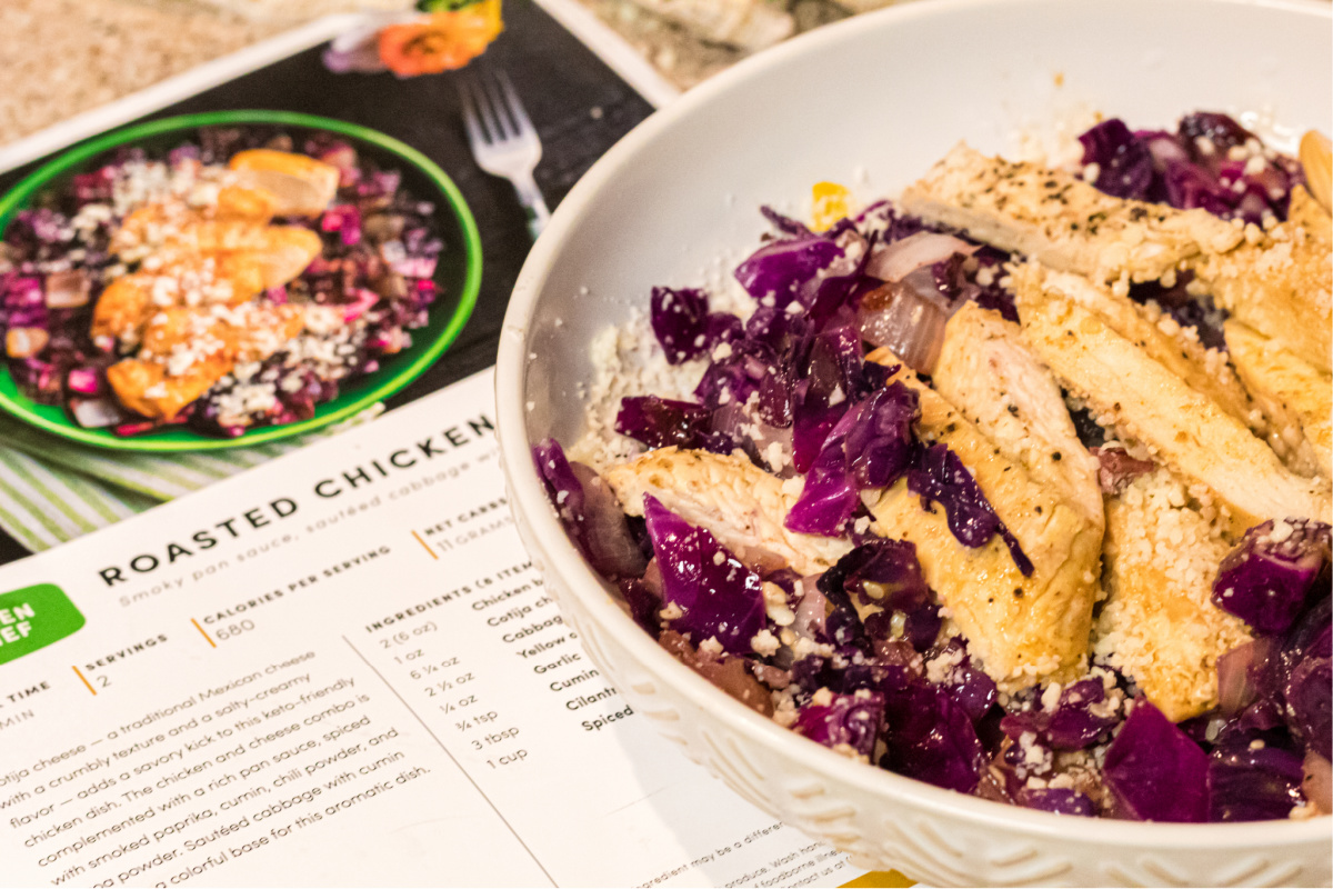chicken on purple cabbage from Green Chef