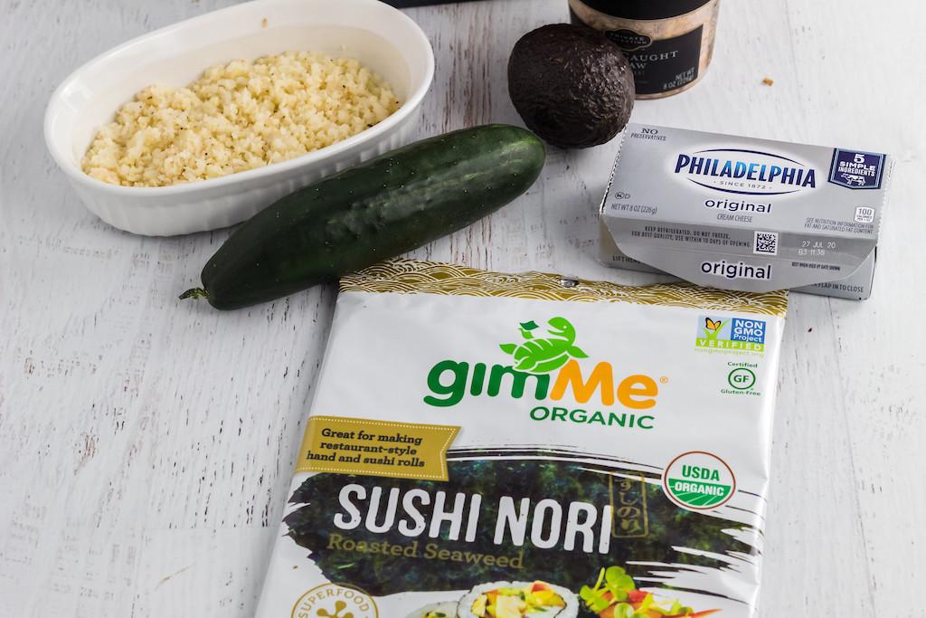 keto sushi ingredients including sushi nori