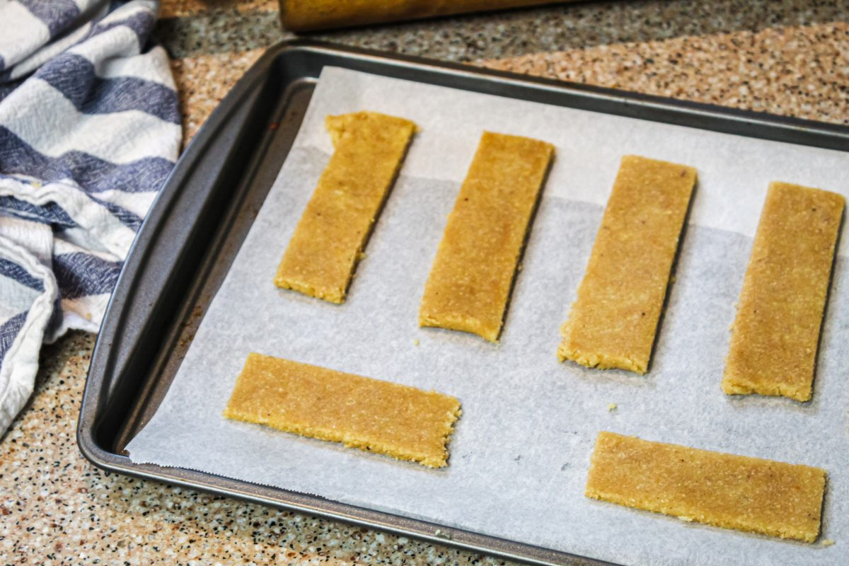 shortbread cookies on baking sheet