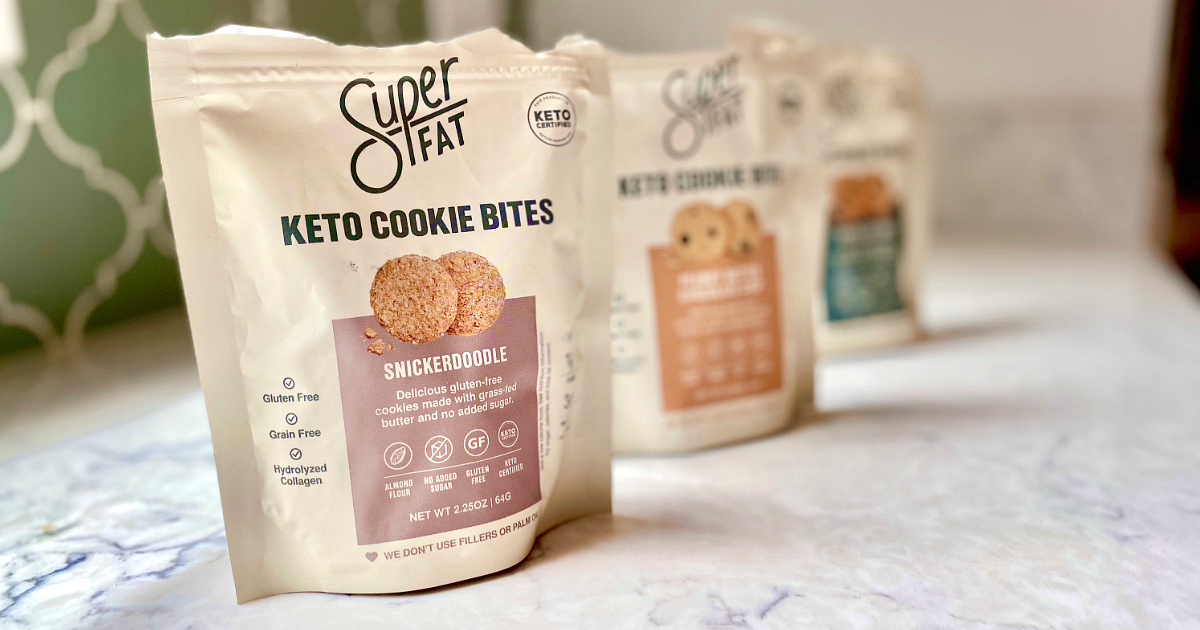 bags of keto cookies on counter