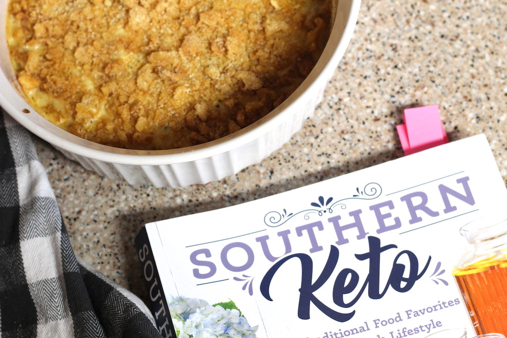 Southern Keto cookbook with hashbrown casserole in bowl