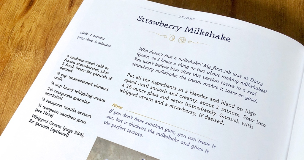close up of southern keto strawberry milkshake recipe