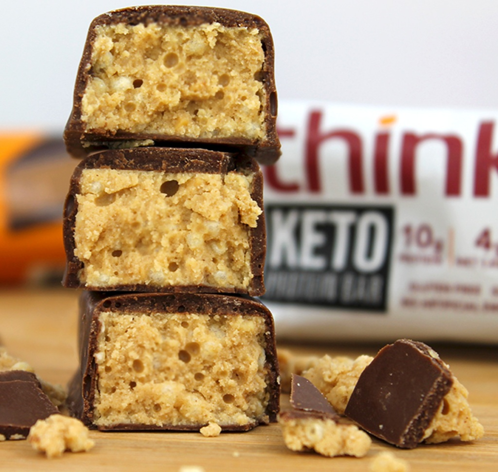think keto bars stacked up on table