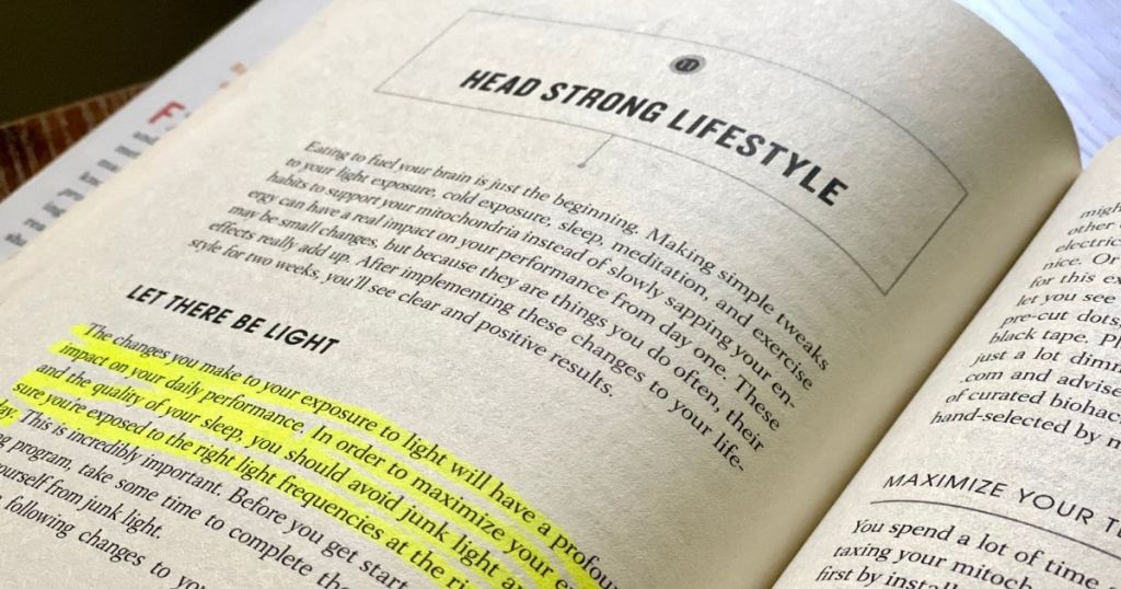Head Strong book open to chapter 11 with highlighted text