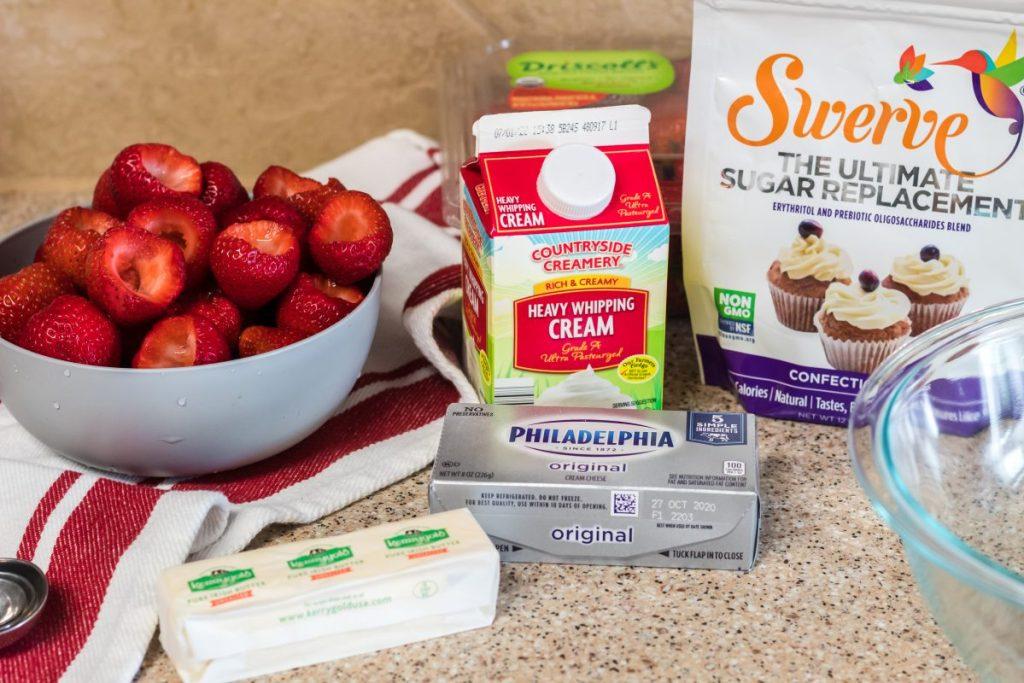 ingredients for Keto Cheesecake Stuffed Strawberries