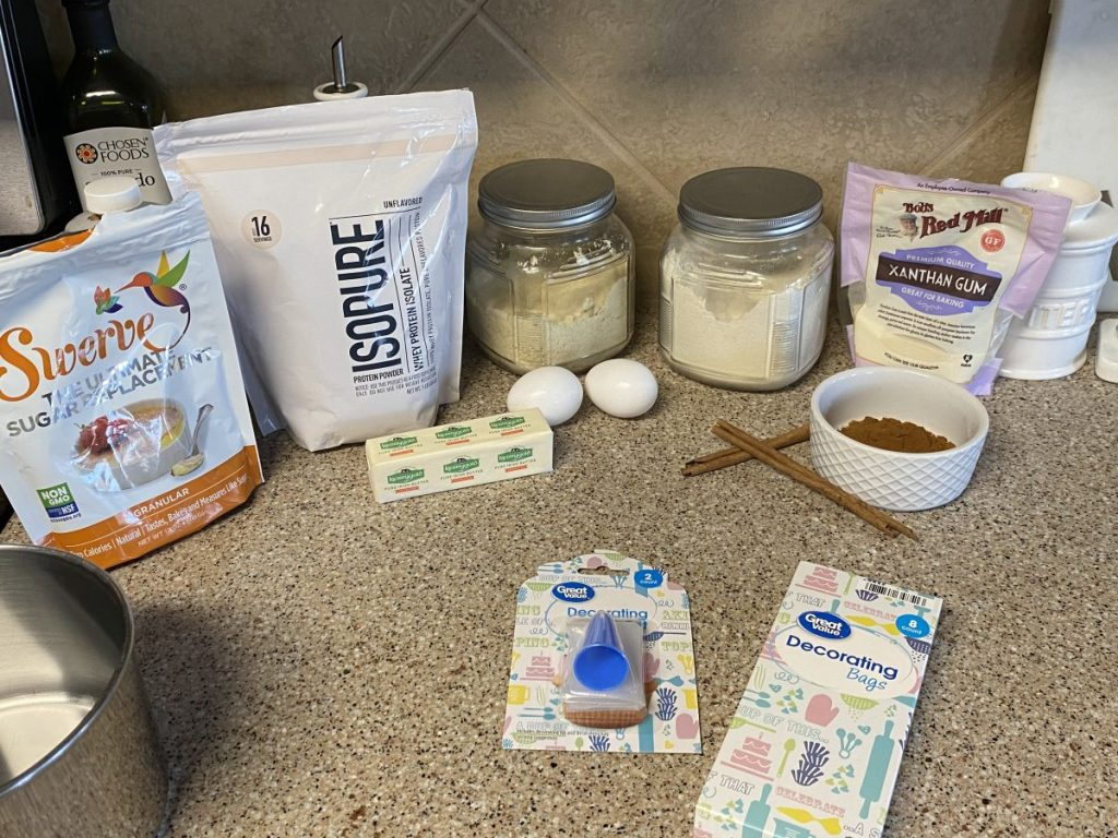 ingredients on counter to make keto churros