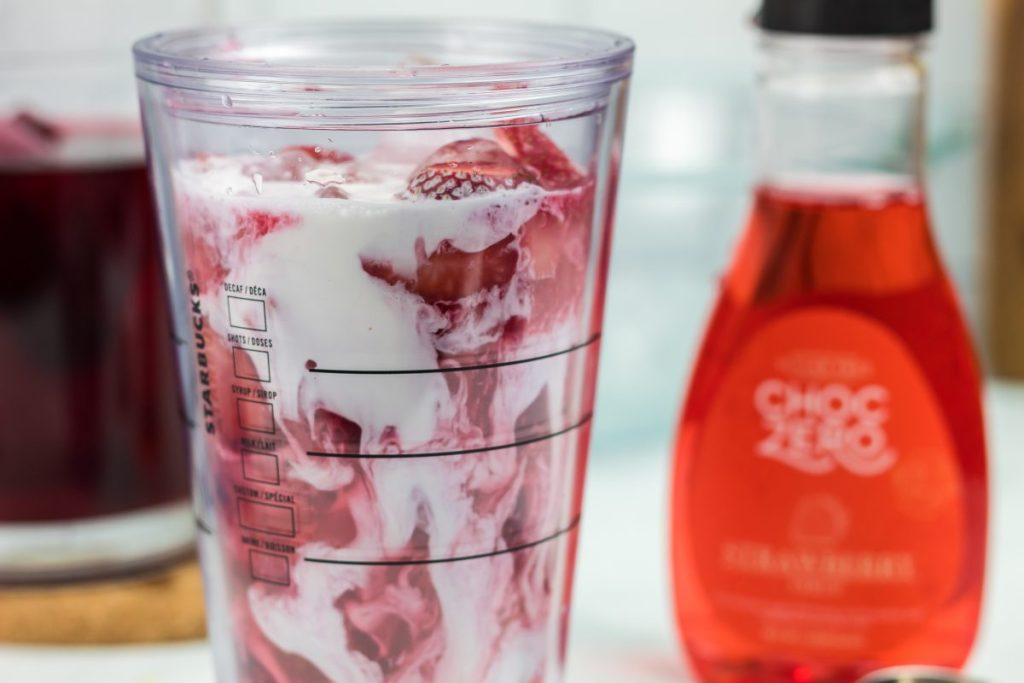 pink drink in a cup