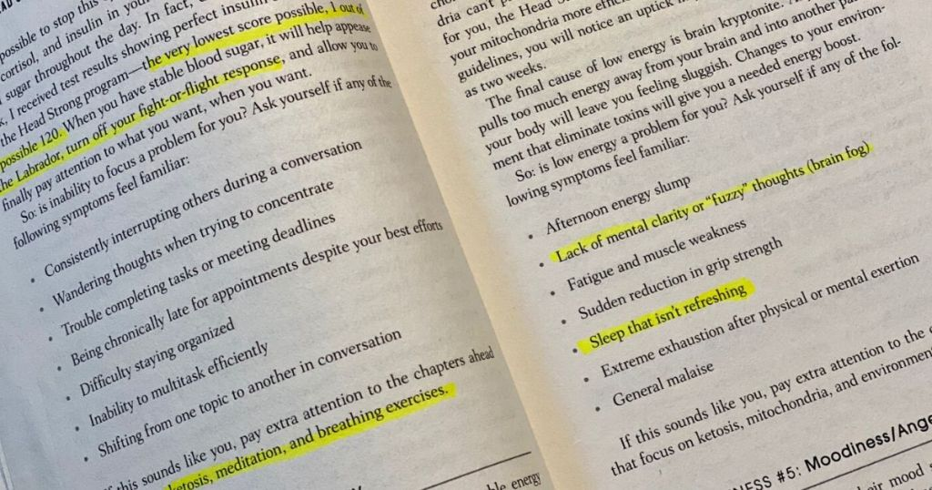 Part 1 takeaways highlighted in hardcopy of Head Strong book