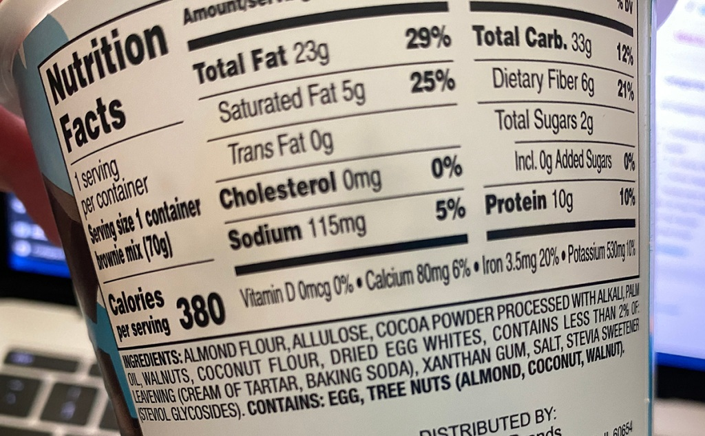 duncan hines nutrition label on keto cakes