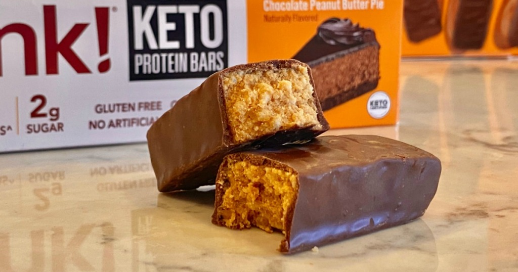 Think! keto protein bars on counter