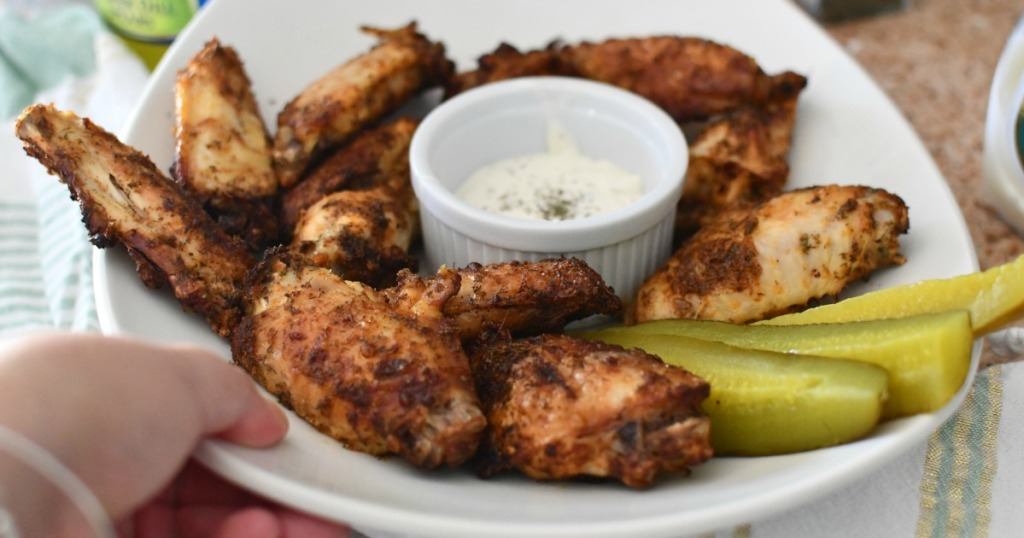 plate of dill pickle chicken wings
