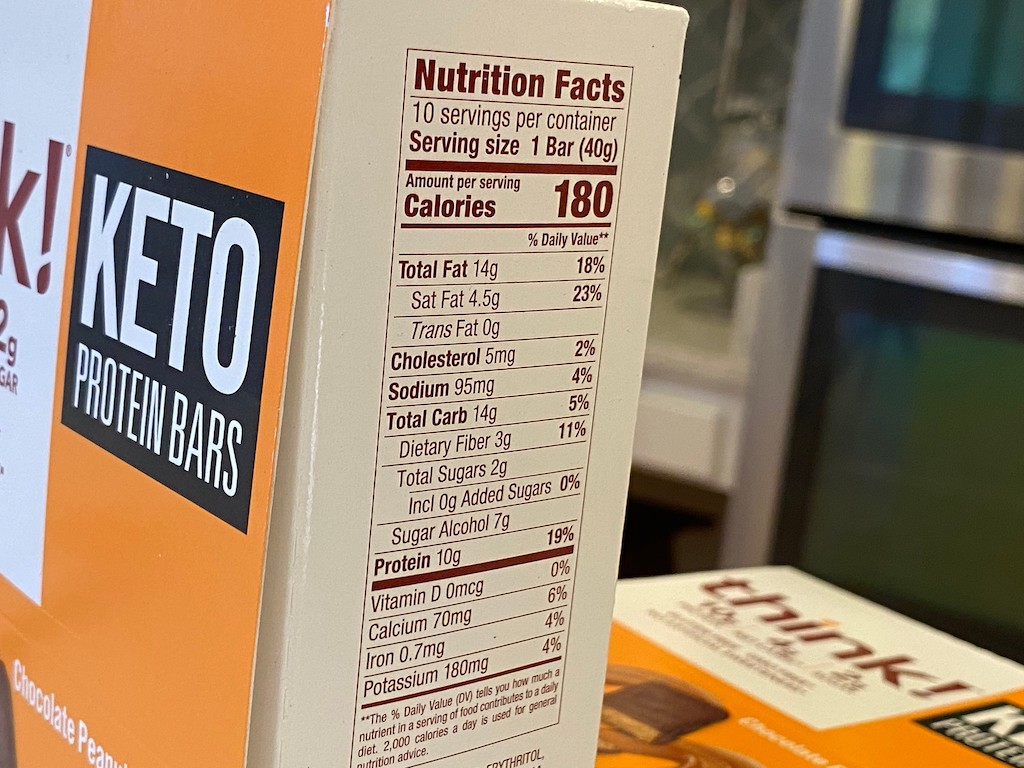 think keto protein bars box with nutrition