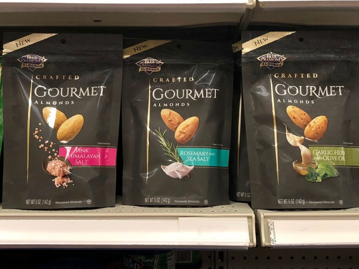 blue diamond gourmet almonds on counter