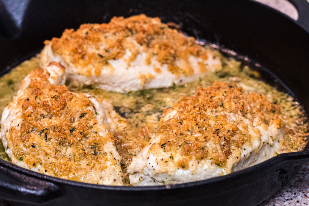 keto parmesan crusted chicken in pan