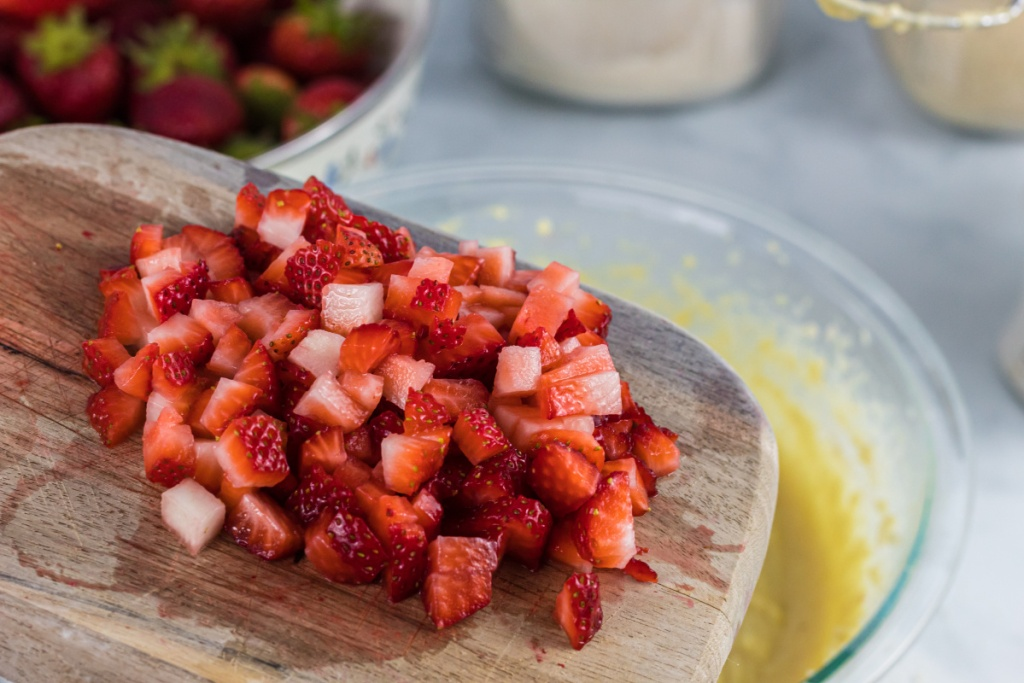 diced up strawberries