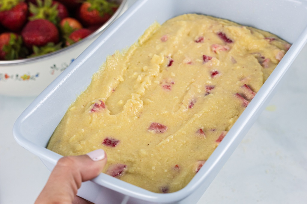 bread loaf with strawberry batter