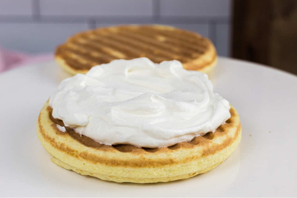 whipped topping added to shortcake chaffle