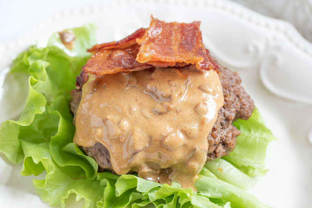 peanut butter burger with bacon and lettuce