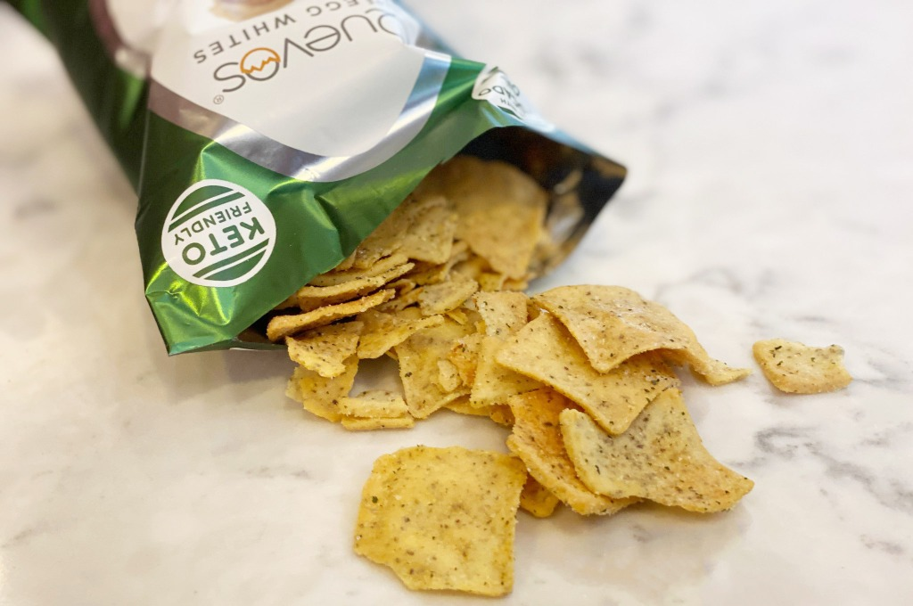 bag of quevos chips on counter