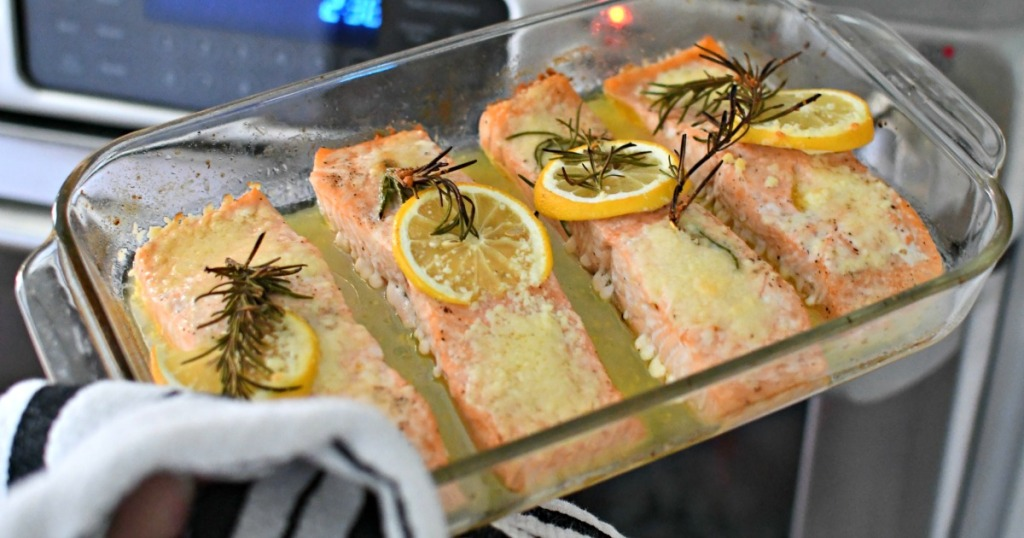 taking salmon out of oven