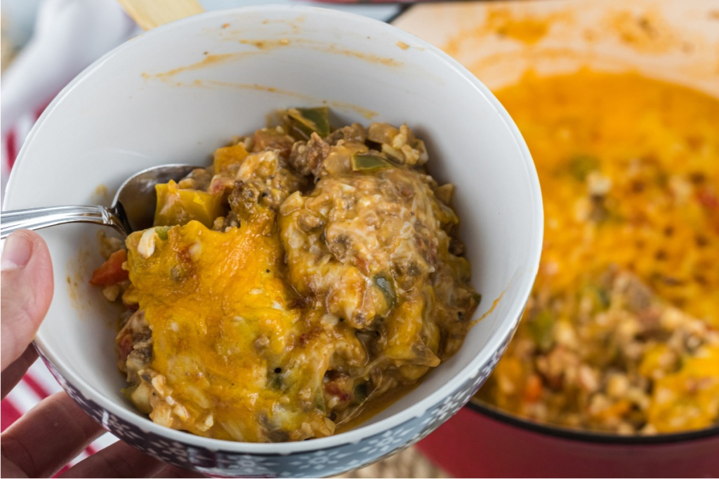 bowl of stuffed pepper casserole