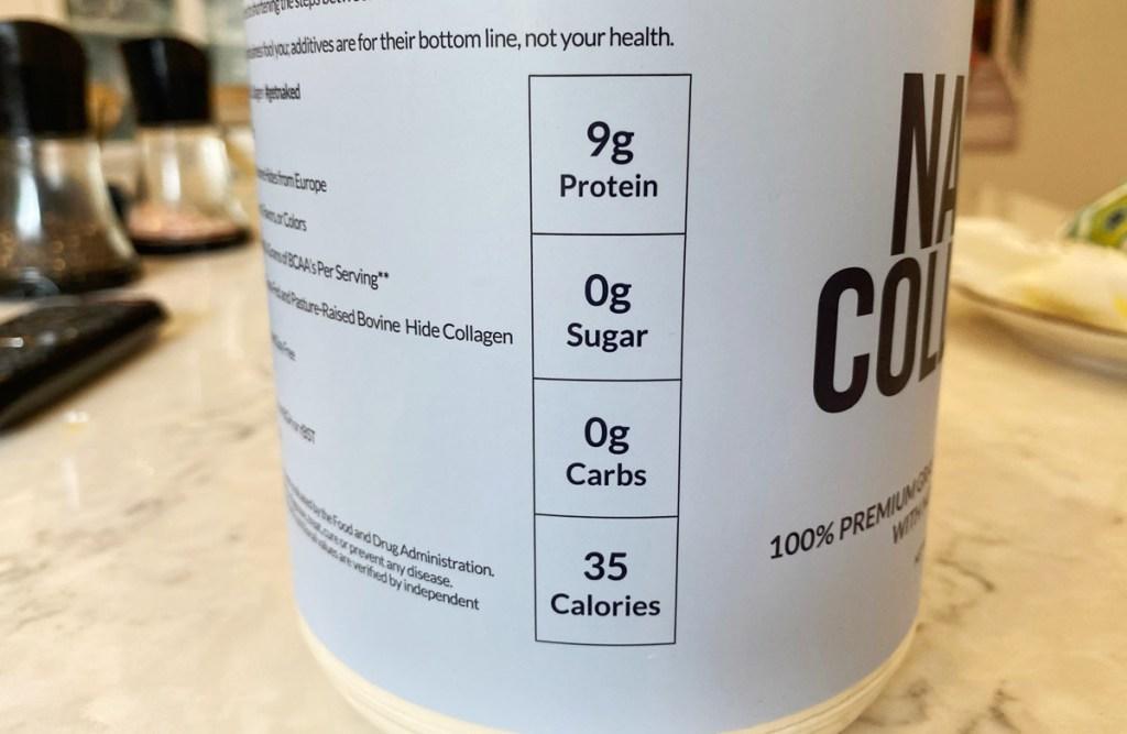 collagen peptides nutrition label