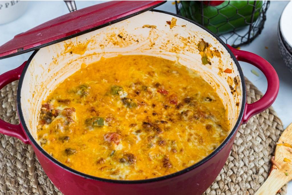 dutch oven with stuffed bell pepper casserole