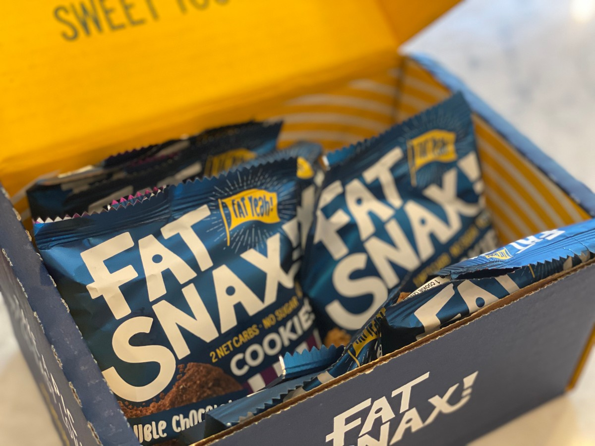 box full of Fat Snax cookies