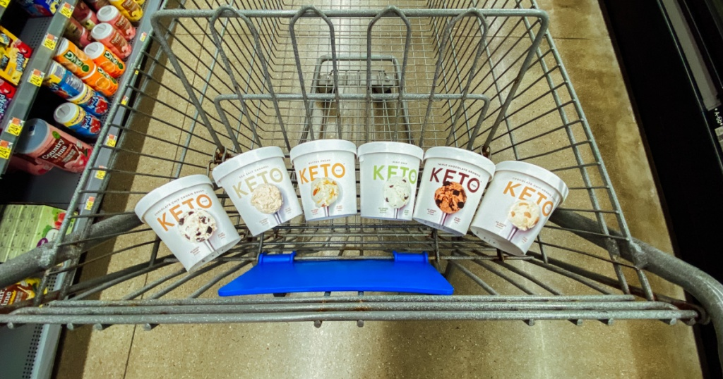 ice cream flavors in the cart