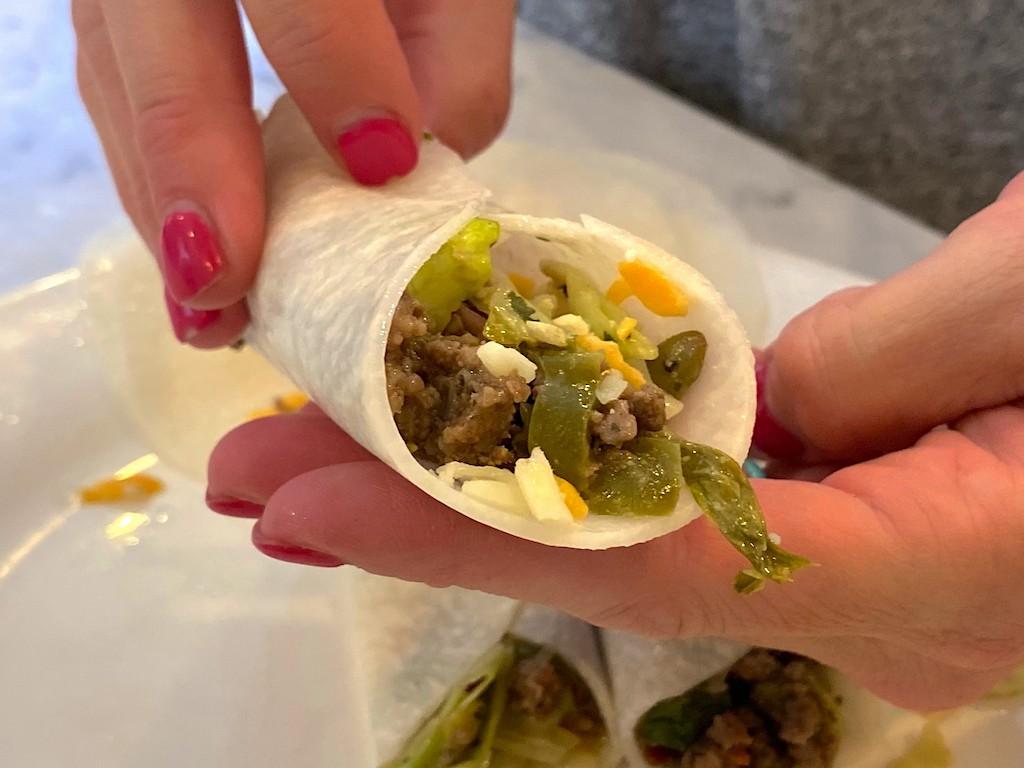 using taco filling in jicama wraps