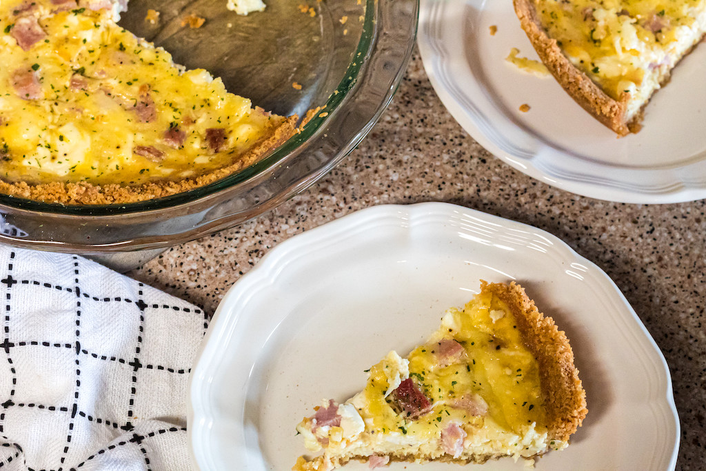 slice of keto carnivore quiche on plate