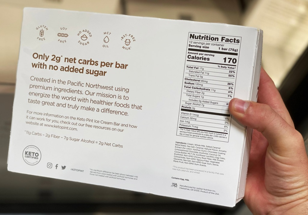 keto pint ice cream bars nutrition info