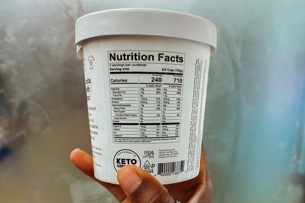 nutritional info for keto pints