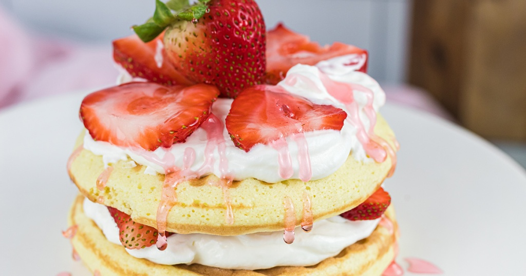 close up of keto strawberry shortcake chaffle