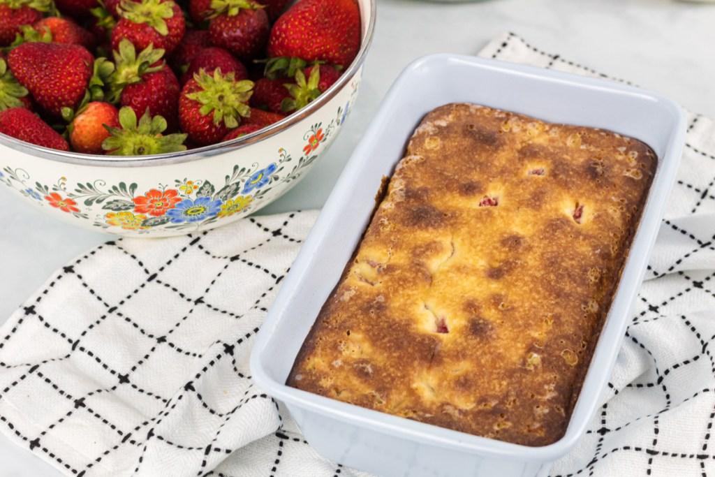 loaf of keto strawberry shortcake pound cake